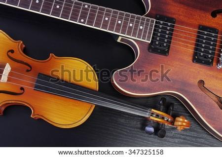 Jazz guitar and violin - stock photo