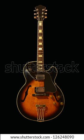 Jazz guitar / Hollow body electric guitar / Guitar / Vintage guitar / Ibanez fg100 - stock photo