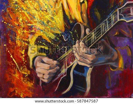jazz guitarists hands playing guitar with fantasy background original artwork in acrylic