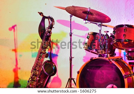 Jazz instruments before the jam session - colorful lighting - color version