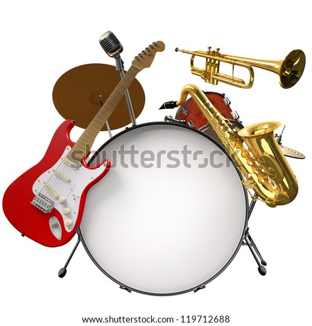 Jazz montage consisting of a drum kit, electric guitar, microphone, saxophone and trumpet on a white background - stock photo