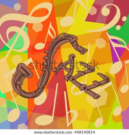 Jazz music background with saxophone - stock photo