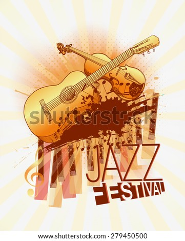 Jazz music festival with violin and guitar background template - stock photo