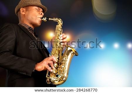 Jazz, Musical Band, Saxophone. - stock photo