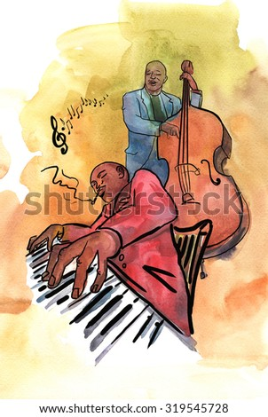 Jazz pianist and bassist playing music - stock photo