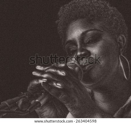 Jazz Singer On Black, Grain added for texture - stock photo
