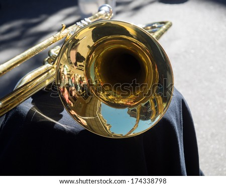 Jazz trumpet in French Quarter, New Orleans. - stock photo