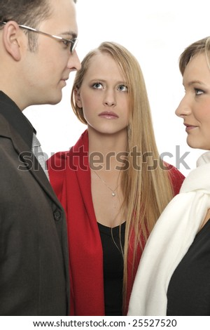 JEALOUS GIRL WATCHING BOYFRIEND IN LOVE TO ANOTHER WOMAN
