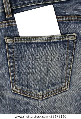 jean back pocket and empty card - stock photo
