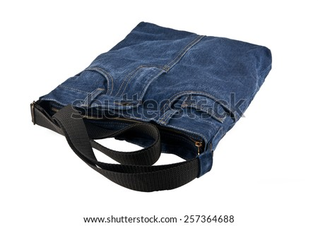 jean bag on a white background - stock photo