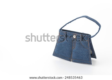jean bag on white background