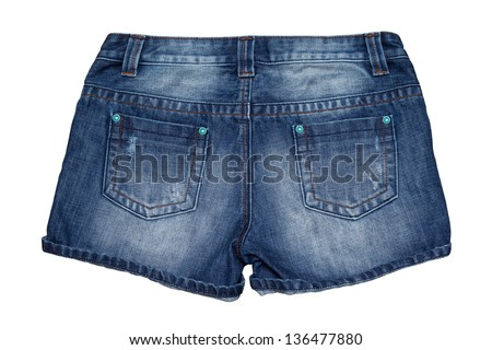 Jean short pants isolate white background - stock photo