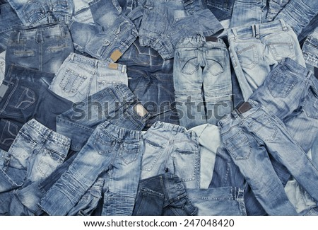 Jeans  Background Assortment - stock photo
