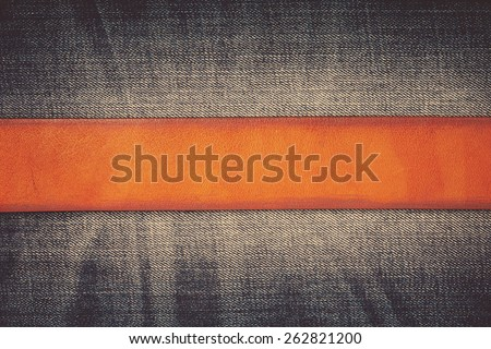 Jeans background with belt - stock photo