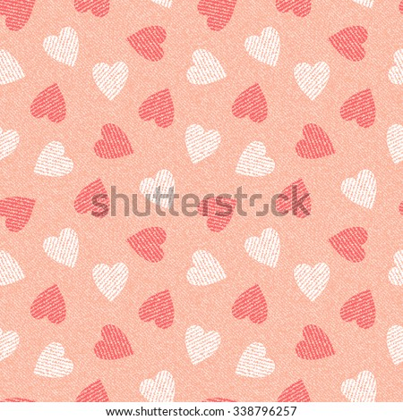 Jeans background with hearts. Denim seamless pattern. Pink jeans cloth.