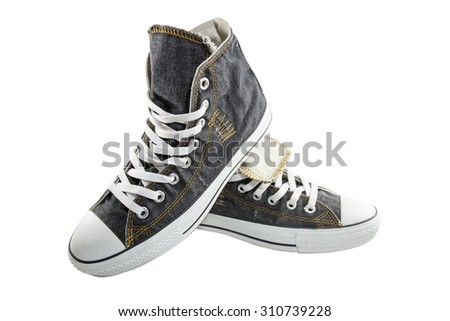 jeans black canvas shoes on a white background
