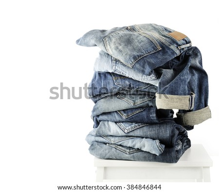jeans collection close up isolated - stock photo