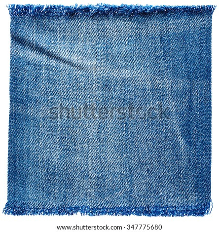 Jeans fabric isolated on white background - stock photo