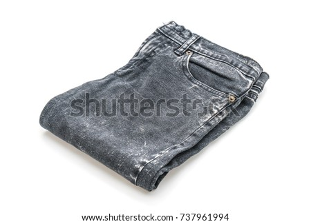 jeans folded isolated on white background