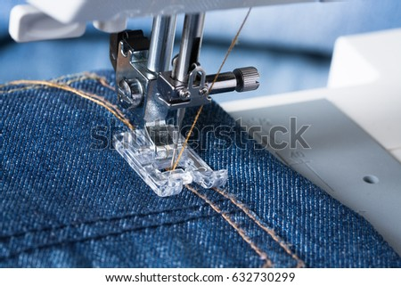 Jeans Foot Sewing Machine On Jeans Stock Photo Edit Now 40 Unique How To Take In Jeans Without A Sewing Machine