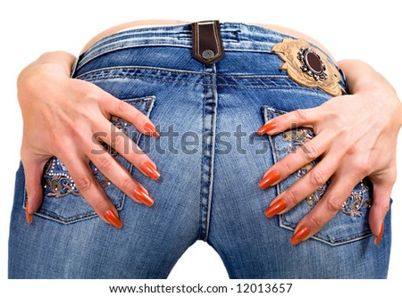Jeans from behind, studio shot - stock photo