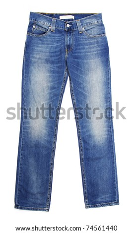 Jeans isolated on white background - stock photo