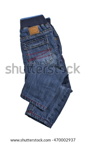 Jeans isolated on white background, selective focus. Clipping path included.