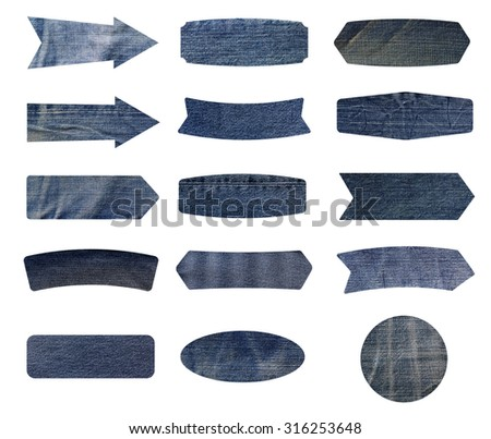 jeans label isolated on white background, Objects with clipping paths for design work - stock photo