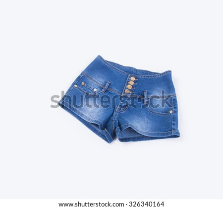 jeans or jeans shorts isolated on white background - stock photo