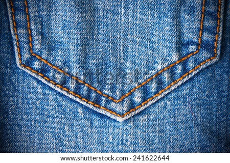 Jeans pocket. Background of denim texture - stock photo