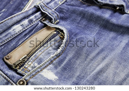 Jeans pocket, detail of casual clothing, pocket detail, modern style - stock photo