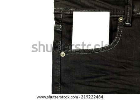 jeans pocket with a paper card  - stock photo