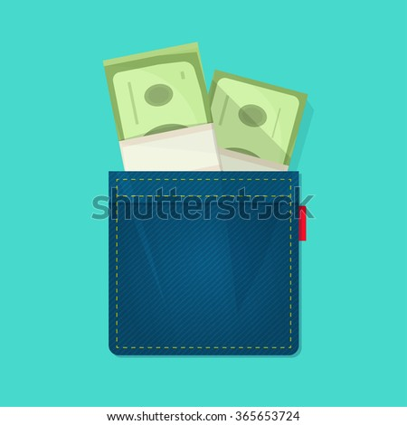 Jeans pocket with pile of paper money, concept of wallet, bag with cash heap, income, benefit, expenses, allowance savings, good success deal flat cartoon modern design illustration isolated image - stock photo