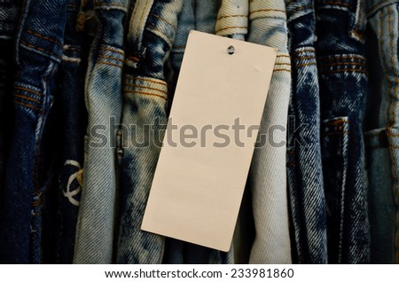 Jeans price tag - stock photo
