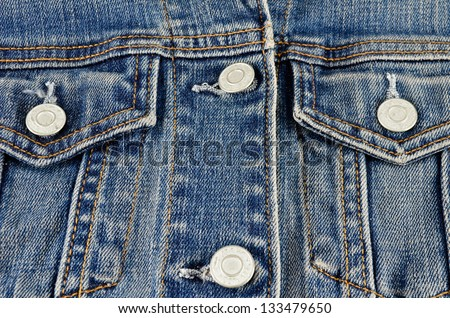 Jeans shirt pocket close up - stock photo