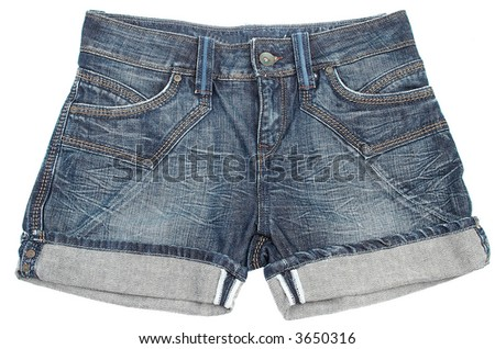 Jeans shorts on a white background - stock photo