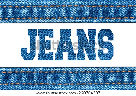 Jeans sign on the white background. Horizontal frame.