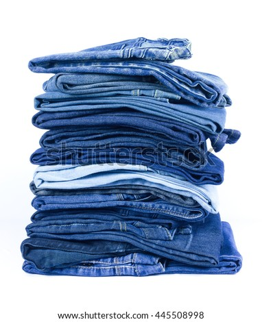 jeans stacked Isolated white background.
