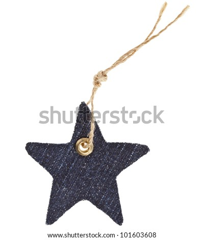 Jeans Tag Star Isolated on White - stock photo