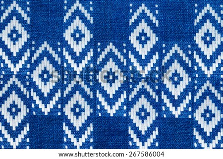 jeans texture and geometric print - stock photo