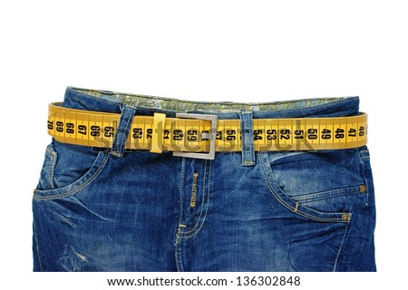 jeans with meter belt slimming isolated on the white background - stock photo