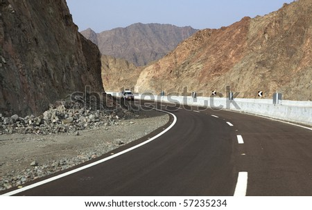 Jeep rides on a mountain road. Mountains of Sinai. Egypt.