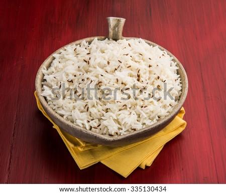 jeera rice, long-grain basmati rice flavoured with fried cumin seeds  - stock photo