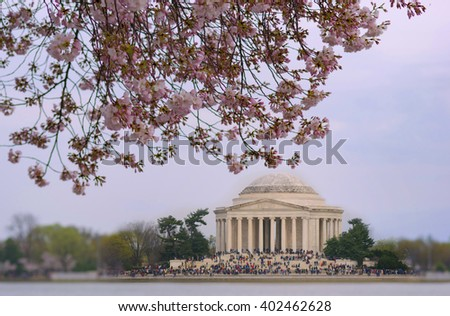 Jefferson Memorial and Cherry blossom - stock photo