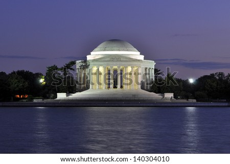 Jefferson Memorial at dusk in Washington, DC, USA.