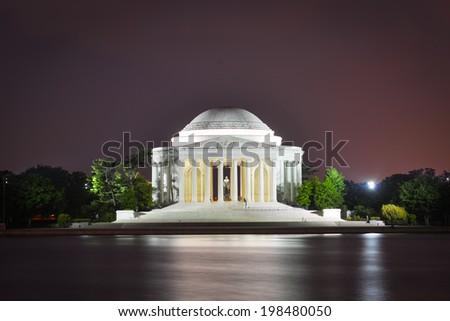 Jefferson Memorial at night - Washington D.C. USA - stock photo