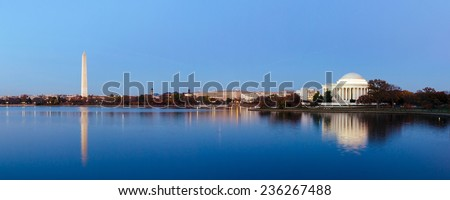 Jefferson Memorial at Tidal Basin,Washington DC, USA. Panoramic image. - stock photo