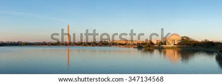 Jefferson Memorial at Tidal Basin,Washington DC, USA. Panoramic image. - stock photo