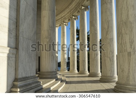 Jefferson Memorial Columns with Sun Streaming Through