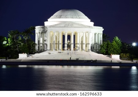 Jefferson Memorial Monument Night Scene in Washington DC, USA